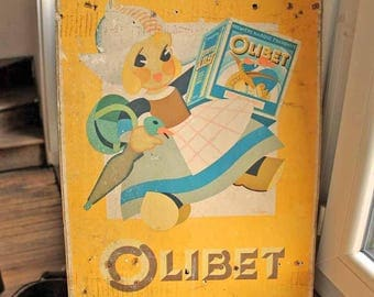 vintage advertisement poster French buiscuits/cookies Olibet Bordeaux / antique sign board