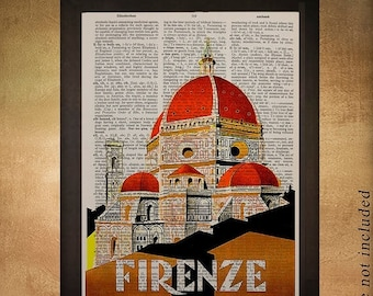 SALE-SHIPS Aug 22- Vintage Florence Italy travel poster printed on upcycled dictionary, Italy Florence Wall Art Home Decor da926