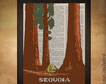 SALE-SHIPS Aug 22- Vintage travel poster of Sequoia National Park printed on upcycled dictionary, California Wall Art Decor da919