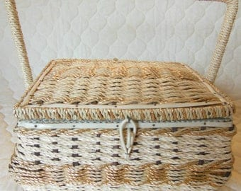 Vintage JC Penny Fabric and Wicker Sewing Backet with Handle & Tray Insert XLNT