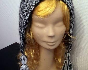 Acrylic and mohair hood style hat