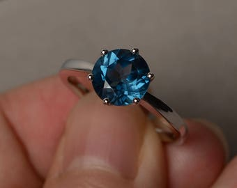 Solitaire Ring London Blue Topaz Ring Anniversary Ring Sterling Silver Round Cut Gemstone November Birthstone Ring