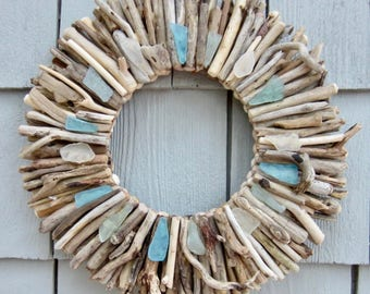 "10"" Maine Driftwood Wreath with Sea Glass - Turquoise, Aqua and White - Beach Decor - Maine Decor - Driftwood Wall Art - Driftwood Art"