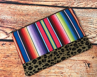 Mandy's Closet Serape & Leopard Make-up Cosmetic Zipper Bag