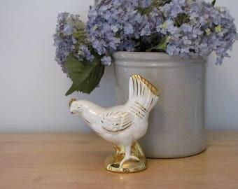 Vintage Cream and Gold Chicken Figurine