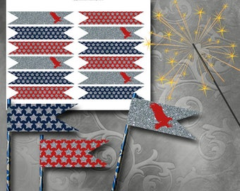 4th of July Glitter Straw Flags Instant Download Printable Straw Flags
