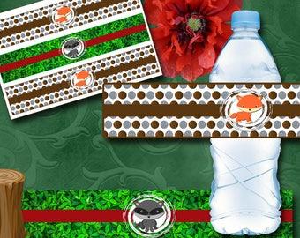 Woodland Bottle Labels Instant Download Printable Bottle Labels