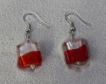 Red glass BOGOTA pierced earrings
