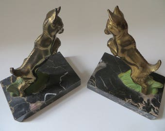 French Art Deco Deer Bookends - Ibex Spelter Bookends - Art deco patina spelter sculpture goat mountain
