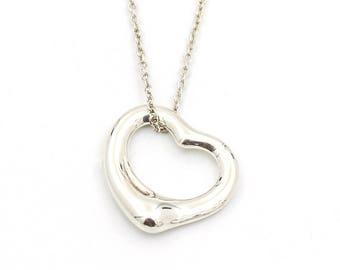 Tiffany & Co. Elsa Peretti 16mm Open Heart Pendant Necklace in Sterling Silver