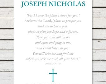 BAPTISM GIFT BOY, Baptism Gift Girl, Baptism Gift, Baptism Scripture, Jeremiah 29:11, For I Know The Plans I Have For You, Baptism Verse