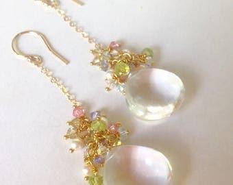 Smooth Quartz Crystal Briolette Earrings-Peridot -Swarovski Crystals-Swarovski Pearls-Gold Filled Chain & Earring Wire-Vermeil