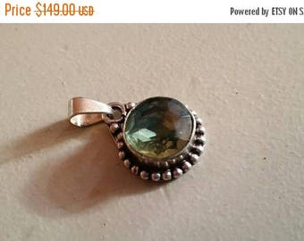 Holiday SALE 85 % OFF Green Amethyst  Pendant Gemstones  . 925 Sterling Silver