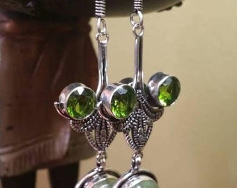 Holiday SALE 85 % OFF Peridot  Prehnite   Sterling silver Earrings Gemstone  .925