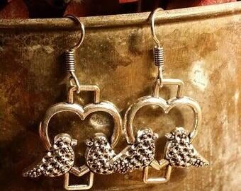 Holiday SALE 85 % OFF Bohemian  Bird Heart Dangle  Earrings .925 Sterling Silver