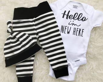 Striped 'Hello I'm New Here' Set