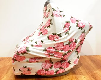 "Infant Baby Stretchy Multi-Functioning ""Pink Roses"" Car Seat Cover, Nursing Cover, Cart Cover"
