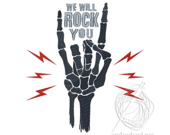 We Will Rock You Embroidery Design Text Embroidery Design Says Embroidery Halloween Embroidery Design Skeleton Hand Embroidery Design