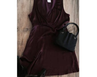 VINTAGE• 1990s Burgundy Satin Mini Dress