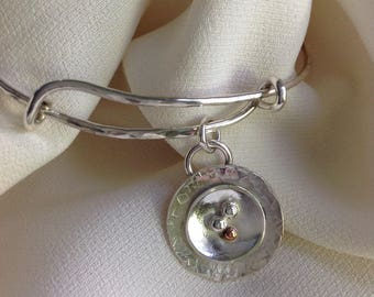 Sterling adjustable bangle with disk charm