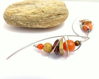 Boucles d'oreille grands crochets, orange beige, pierre, céramique, acier chirurgical (GC5)