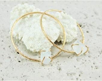 Raw Aquamarine Hoop Earrings, Raw Aquamarine Earrings, Aquamarine Earrings Gold, Raw Aquamarine Gold Earrings, Gold Hoop Earrings
