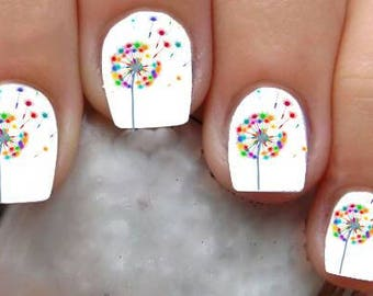 Dandelion nail art etsy 1309 dandelion waterslide nail art decals enough for 2 manicures prinsesfo Choice Image