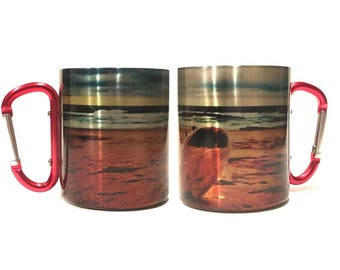 Valentine's Day Gift For Him  / Lightweight Carabiner Handle Mug / Eco Friendly / Stainless Steel Mug / Gift For Surfers