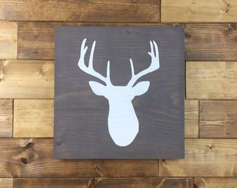 Choose colors, Deer Head Sign, Deer Sign, Painted, Deer decor, Cabin decor, Hunting decor, woodland nursery, deer head, deer nursery