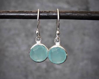 Aqua Earrings, Chalcedony Earrings, Silver and Aqua Drop Earrings, Aqua Chalcedony Drops, Birthstone Earrings, Sterling Silver, 925