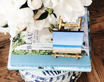 Mini Seascape Beach Painting on Vintage Gold Bamboo Easel