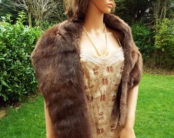 Real fur stole 1950s luxurious chocolate brown mink fur stole shawl Real fur wrap Mink wrap Bridal fur Wedding fur Chocolate brown fur stole