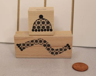 Hat and Scarf rubber Stamp Set of Two Wood Stamp for Scrapbooking or Card Making Altered Art Patterned Scarf