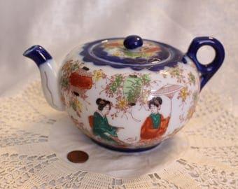 Vintage Japanese Porcelain Tea Pot Kimono Bridge Lantern Garden