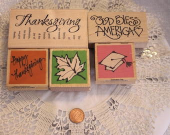 Holiday Mix Lot of rubber Stamps Set of Five Wood Stamp for Scrapbooking or Card Making Altered Art