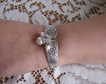 """Spoon Bracelet, Silverware Jewelry,  Antique """"Mountain Rose, Wm Roger, 1954,""""  Wm. A. Rogers"""
