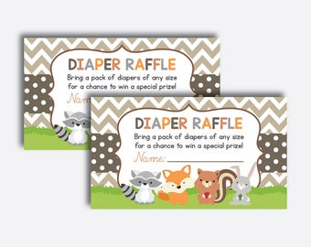 Instant Download, Woodland Diaper Raffle Sign and Ticket, Woodland Invitation Inserts, Woodland Baby Shower, Forest Animals (SBS.33)