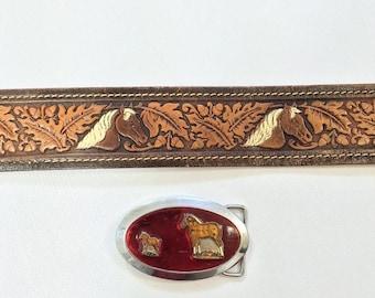 ON SALE 70s HORSES Hand Painted Cowhide Leather belt decorative Hand Finished Tooled Leather Belt Western Custom Vintage Ooak Mens women 34