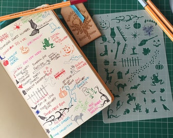 Bullet Journal Stencil, Halloween, mylar planner stencil, Trick or Treat stencil, for Organisers, Filofaxes, Notebooks &  Stationary Stencil