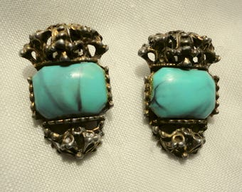 Vintage Turquoise Clip On Earrings Large Stones Ornate Settings Statement Chunky Turquoise Jewelry Queen Earrings Elegant Turquoise Clip On