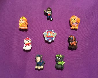 8-pc Paw Patrol Shoe Charms for Crocs, Silicone Bracelet Charms, Party Favors, Jibbitz