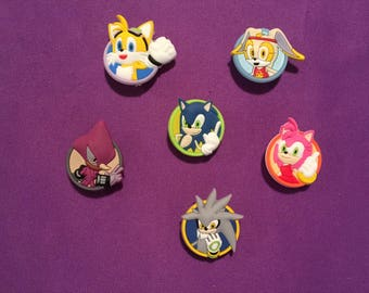 6-pc Sonic the Hedgehog Shoe Charms for Crocs, Silicone Bracelet Charms, Party Favors, Jibbitz
