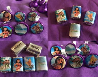 Moana Hershey's Kisses Labels, Envelope Seals, Party Favors / Moana Hershey's Nuggets Labels