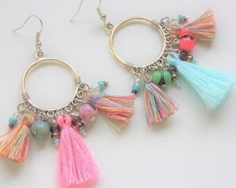 """Ethnic earrings """"Zulu"""" pastel"""
