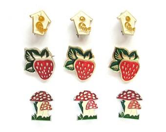 Children's badges, Pick your pin, Bird, Strawberry, Fly amanita, Vintage metal badge, Soviet Vintage Pin, Soviet Union, Made in USSR, 1980s