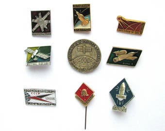 Set of 9 Soviet Space Badges, Satellite, Vintage metal collectible badge, Spacecraft, Soviet Pin, Vintage Badge, Made in USSR, 1970s