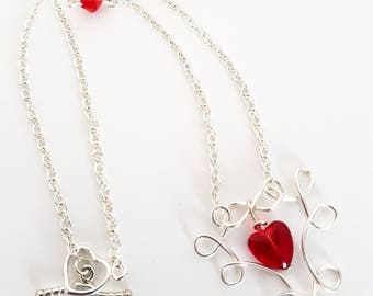 Cupids Love Heart Necklace. Wired looped heart necklace. Heart necklace