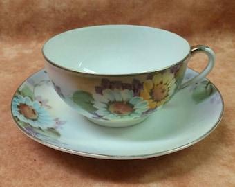 1930s Noritake Teacup & Saucer Daisy Pattern
