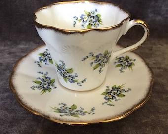 Vintage Sandringham blue forget me not flower tea cup 2008