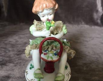 Vintage Dresden Japan lace little girl w basket figurine